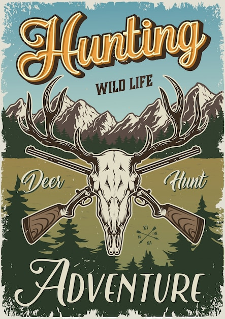 Vintage hunting colorful poster Free Vector