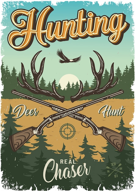 Vintage hunting colorful template Free Vector