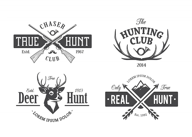 Vintage Hunting Emblems Free Vector