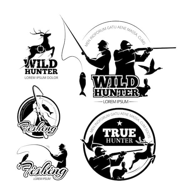 Set di etichette, loghi ed emblemi vettoriali vintage di caccia e pesca. cervo e fucile, asta e illustrazione di mira Vettore gratuito