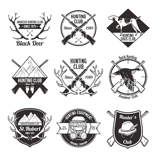 Vintage hunting labels set Free Vector