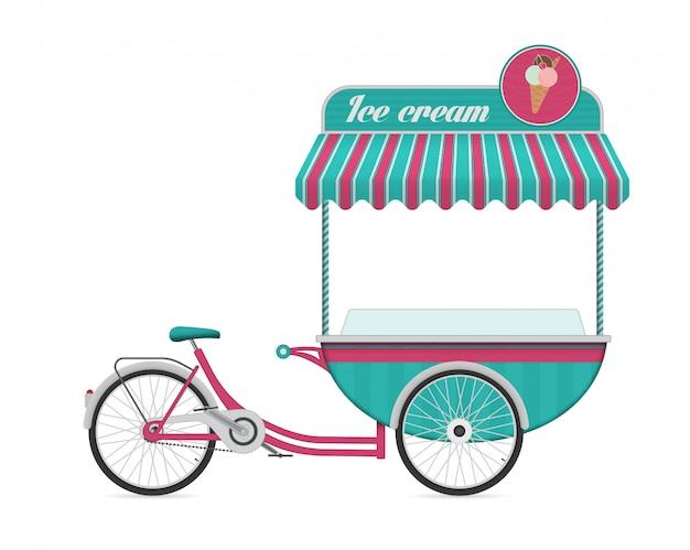 Vintage ice cream bicycle cart bus vector illustration. Premium Vector