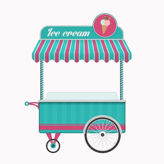 Vintage ice cream cart bus vector illustration. Premium Vector