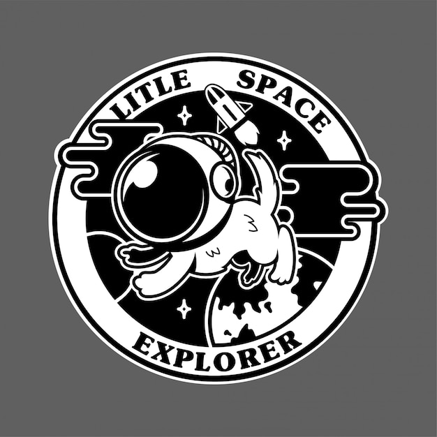 Vintage icons with first little dog astronaut in space explorer. Premium Vector