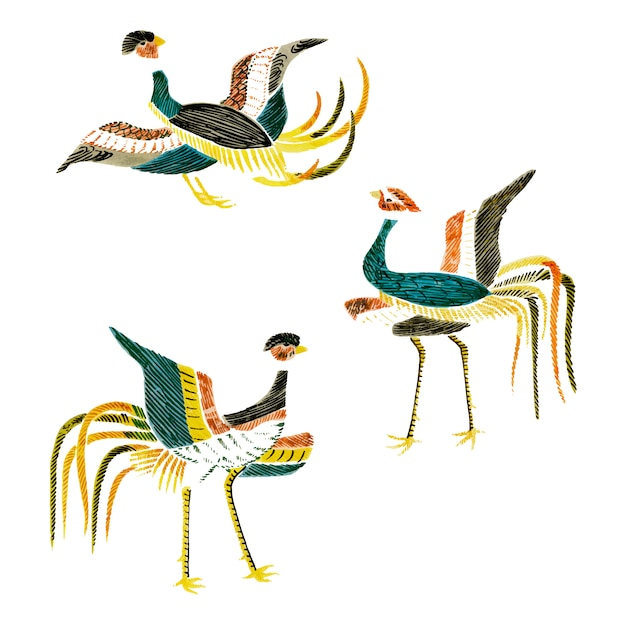 Vintage illustration of japanese cranes compilation Free Vector