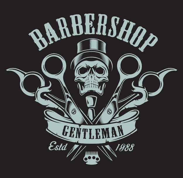 暗い背景に頭蓋骨と理髪店のテーマのヴィンテージのイラスト。すべての要素とテキストは別のグループにあります。 Premiumベクター
