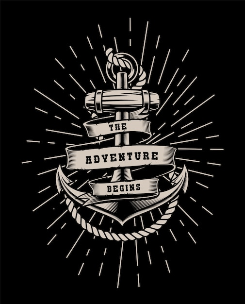 Vintage illustration with rope and lettering on a dark background. Premium Vector