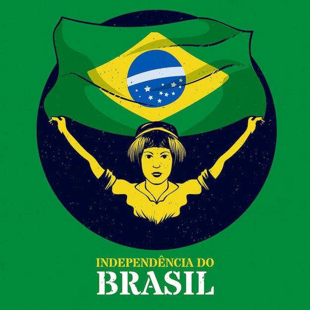 Festa dell'indipendenza d'annata del concetto del brasile Vettore gratuito