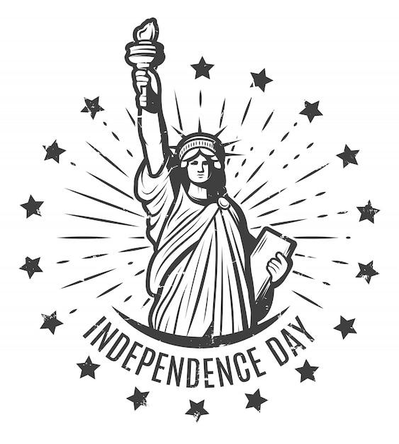 Modello di etichetta rotonda vintage independence day Vettore gratuito
