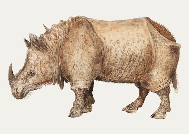 Vintage indian rhinoceros illustration in vector Free Vector