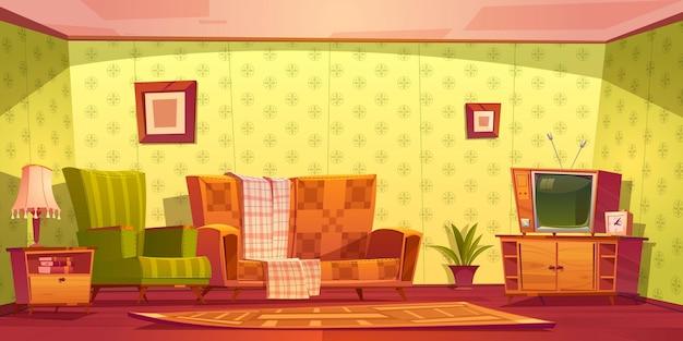 Interni d'epoca del soggiorno con divano, poltrona, orologio e tv su supporto. Vettore gratuito