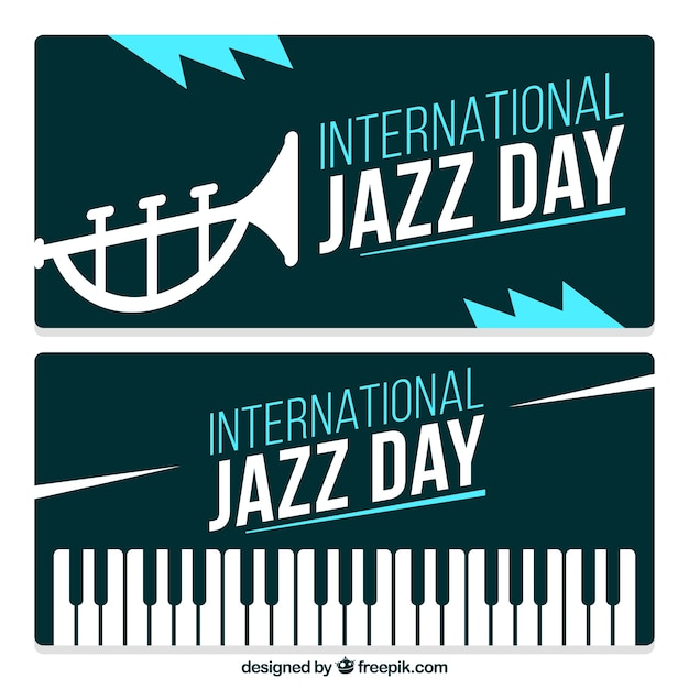 Vintage international day of jazz banners