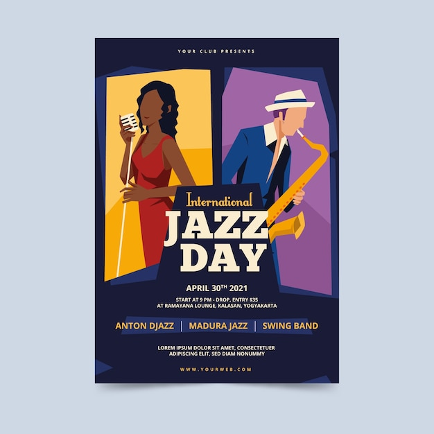 Vintage international jazz day poster template Free Vector