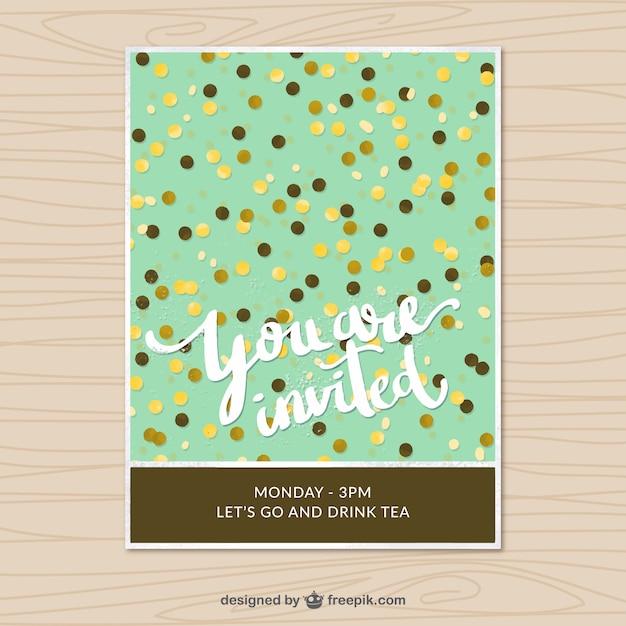 Vintage invitation card with confetti Free Vector