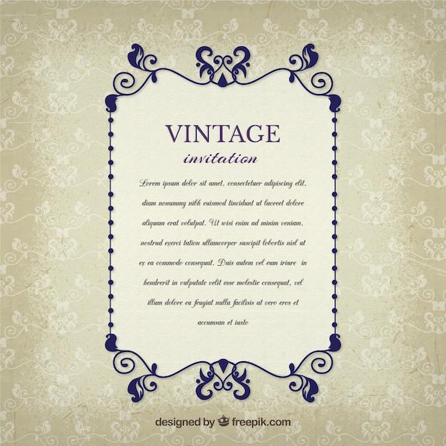 Vintage invitation in elegant style vector free download vintage invitation in elegant style free vector stopboris Choice Image