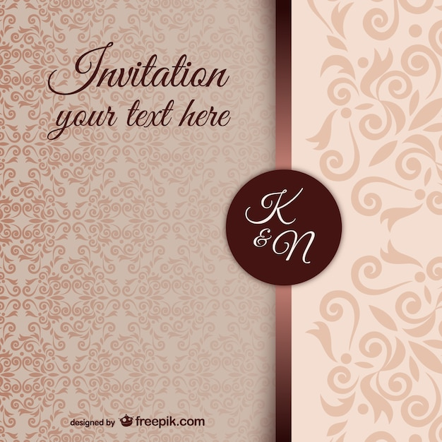 Vintage Invitation Template With Damask Pattern Free Vector  Invitations Templates Free Download