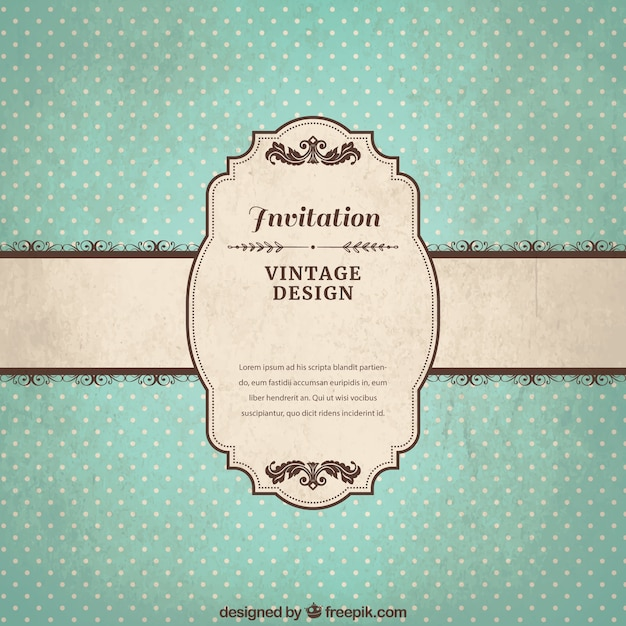 Vintage Invitation Template Vector Free Download - Retro birthday invitation template