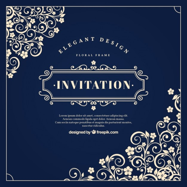 Vintage invitation with floral ornaments Vector Free Download