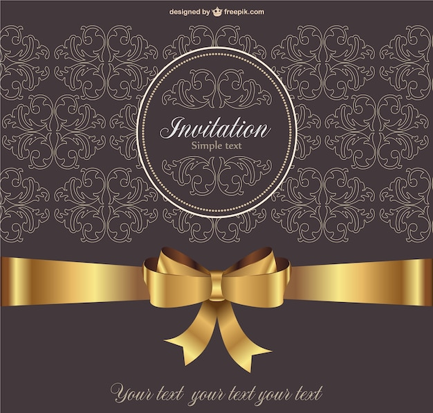 Vintage invitation with golden ribbon vector free download vintage invitation with golden ribbon free vector stopboris Image collections