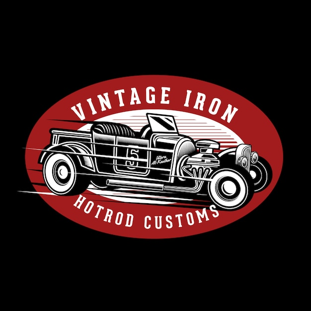 Vintage iron hotrods Premium Vector