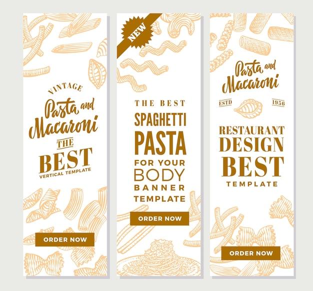 Винтажные итальянские макароны вертикальные баннеры Бесплатные векторы