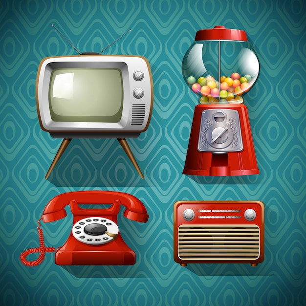 Vintage items on blue Free Vector