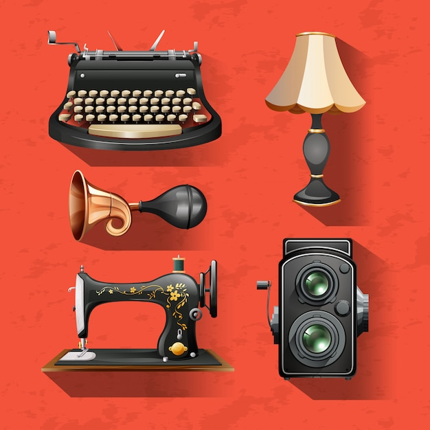 Vintage items on red background Free Vector