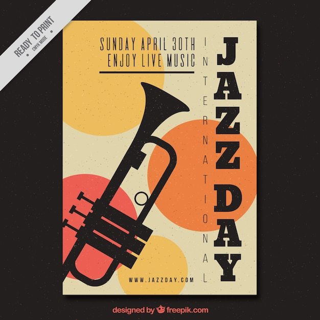 Vintage jazz brochure with trumpet and circles Free Vector