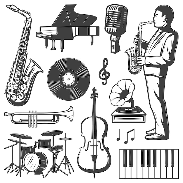 Vintage jazz music elements collection Free Vector