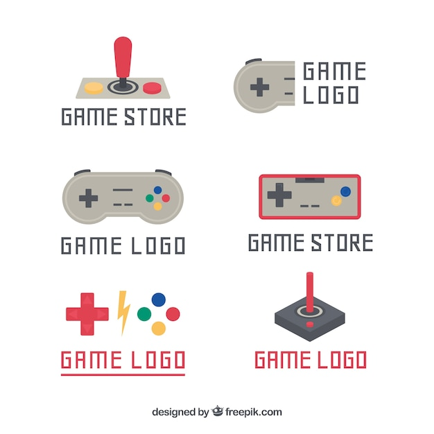 Vintage joystick logo template collection Vector | Free Download