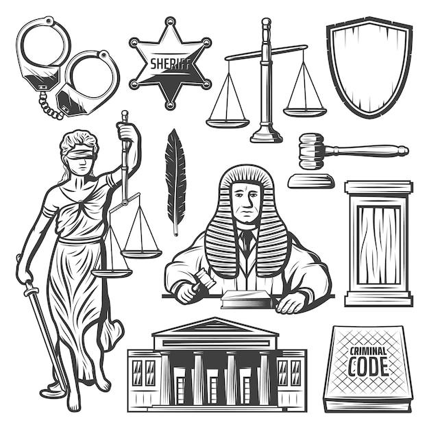 Винтажные элементы судебной системы с наручниками судьи, полицейский значок, весы, молоток, перо, книга закона, статуя фемиды, здание суда, изолированные Бесплатные векторы