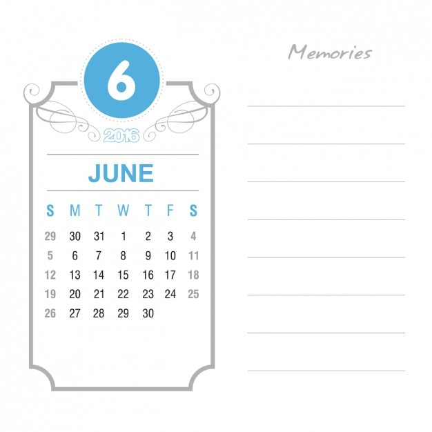 Vintage June Calendar 2016