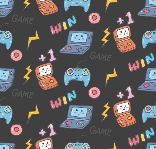 Vintage kawaii video game seamless Premium Vector