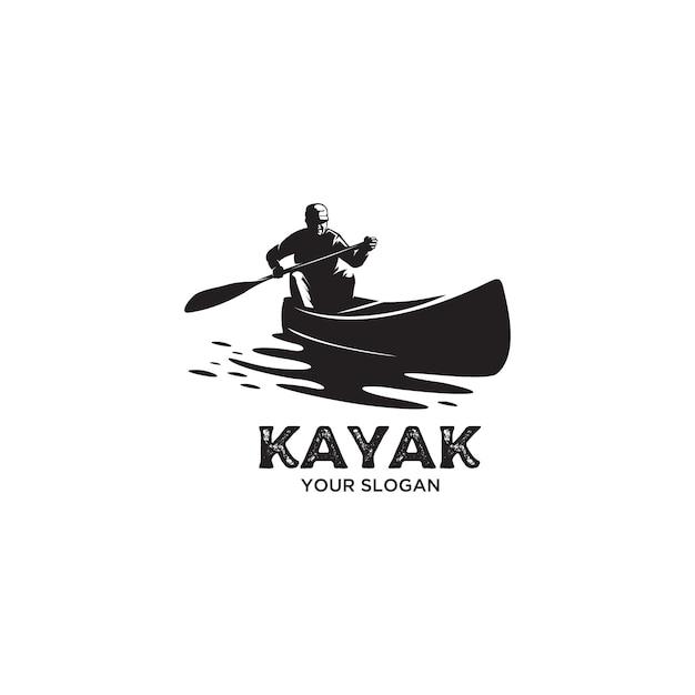 Vintage kayak  silhouette logo illustration Premium Vector