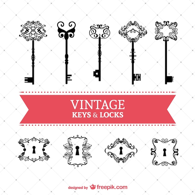 Vintage Keys And Locks Set Vector
