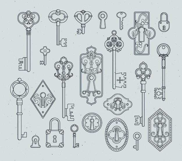 Vintage keys and padlocks for medieval doors. hand drawn vector illustrations. Premium Vector