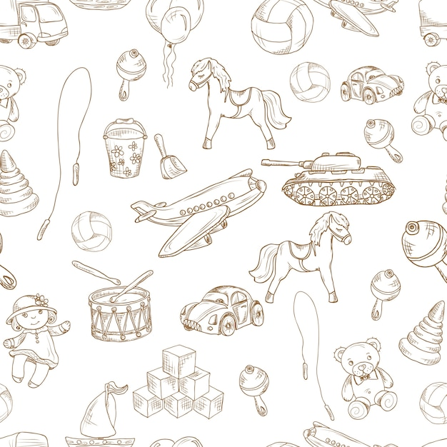 Vintage kids toys sketch seamless pattern with blocks balloon jumping rope vector illustration. Free Vector