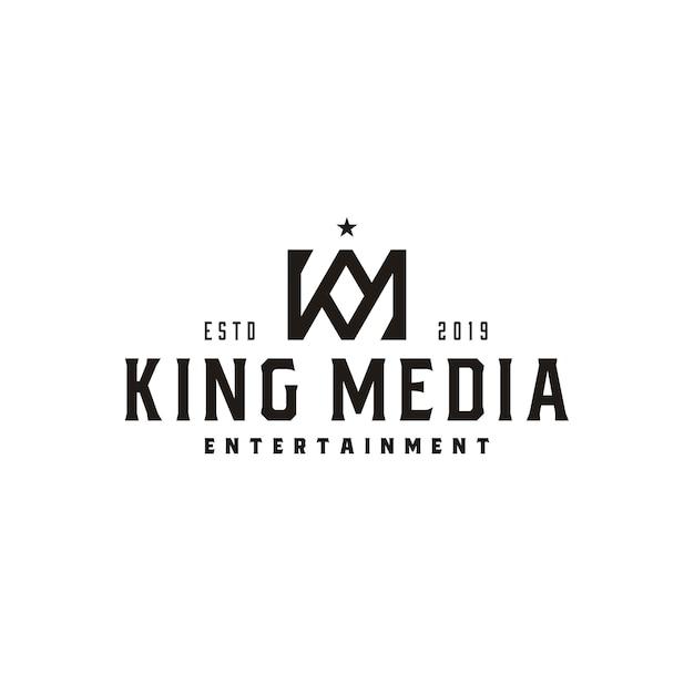 Винтажная королевская корона буква km или km mk логотип монограмма Premium векторы