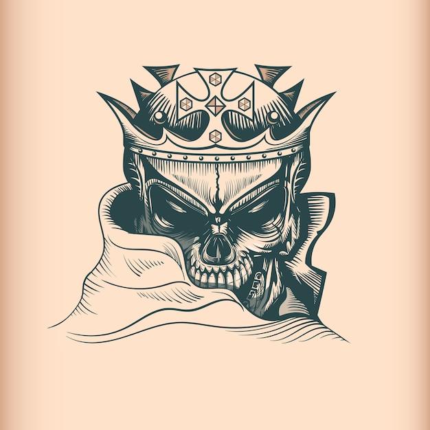 Vintage king skull, monochrome hand drawn tatoo style Premium Vector