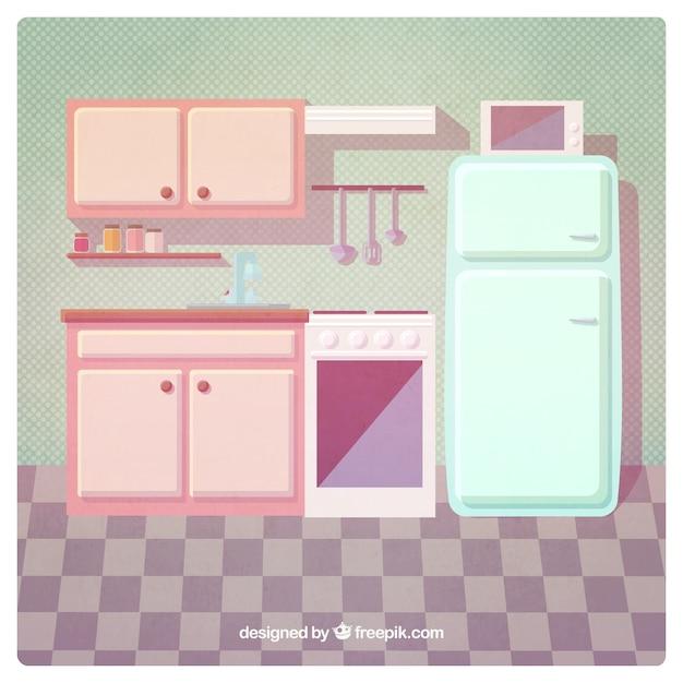 Vintage kitchen Premium Vector