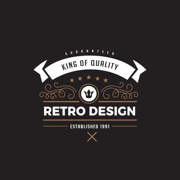 ヴィンテージラベルバッジロゴデザインアイコン。 Premiumベクター