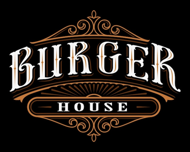Vintage label of burger. lettering  of catering on dark background. all objects are on the separate groups. Premium Vector