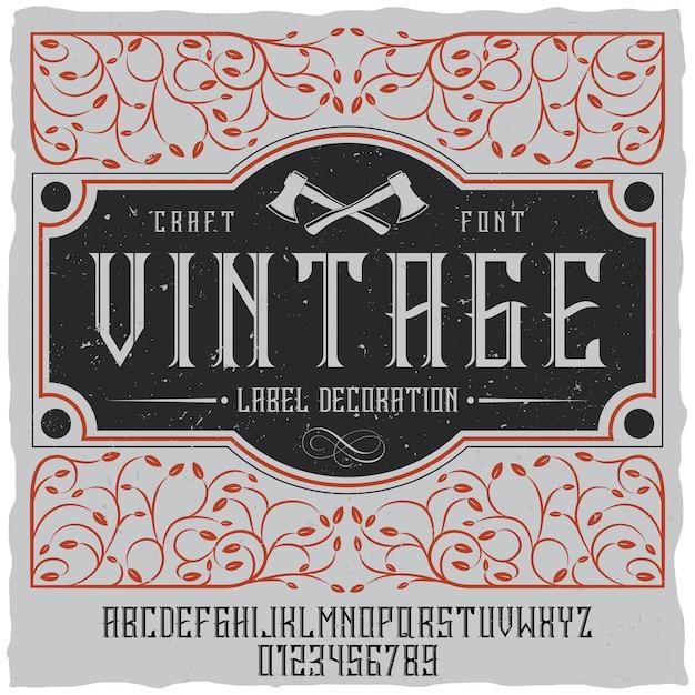 Poster di decorazione etichetta vintage con trafori sul campo e carattere vintage Vettore gratuito