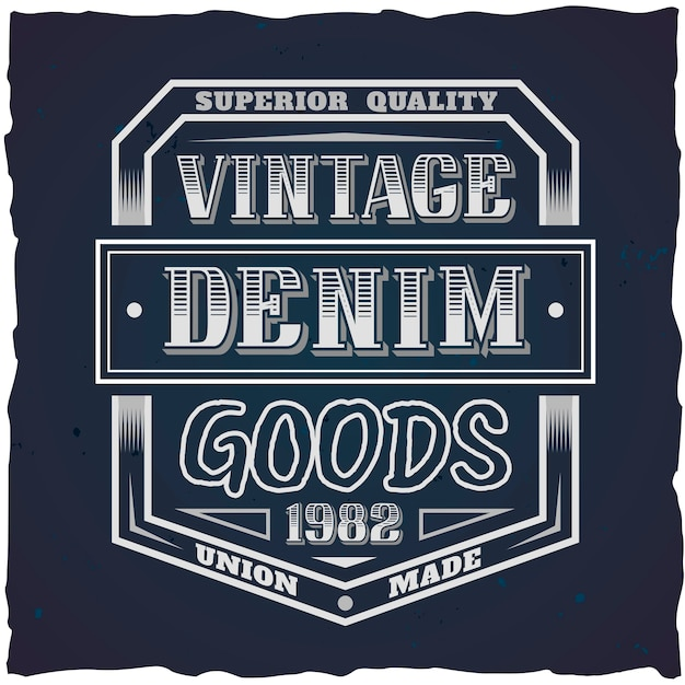 Free Vector Vintage Label Design With Lettering Composition On Dark Background T Shirt Design