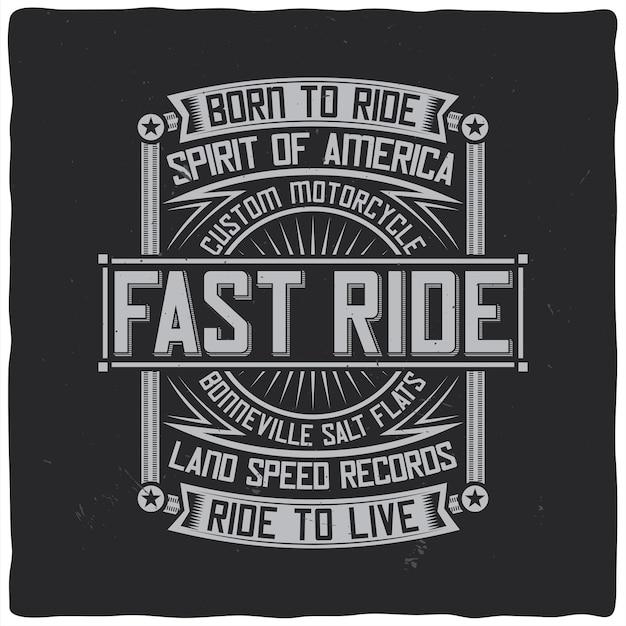 Vintage label design with lettering composition on dark background. t-shirt design. Free Vector