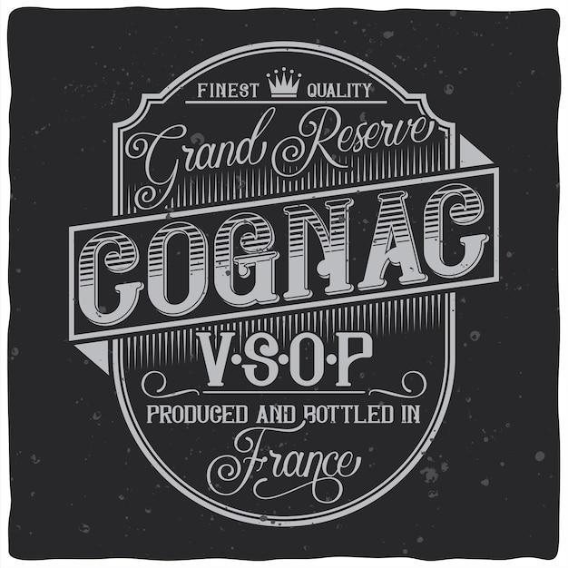 Vintage label design with lettering composition on dark Free Vector