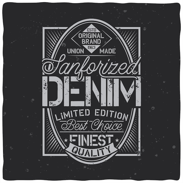 Vintage label design with lettering composition on dark Free Vector