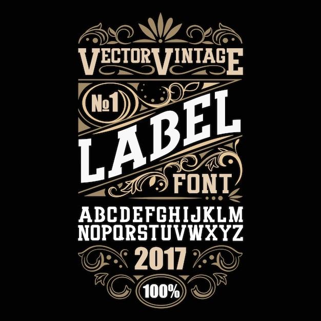 Vintage label font. alcohol label style. Premium Vector