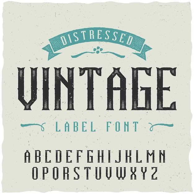 Carattere etichetta vintage. buono da usare in qualsiasi design di etichette classico. Vettore gratuito