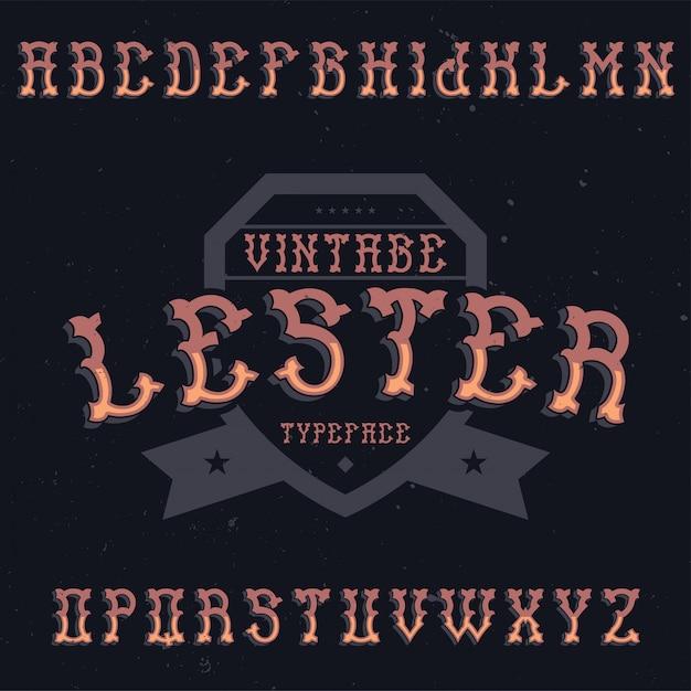 Винтажный шрифт этикетки по имени лестер. подходит для любых творческих этикеток. Бесплатные векторы